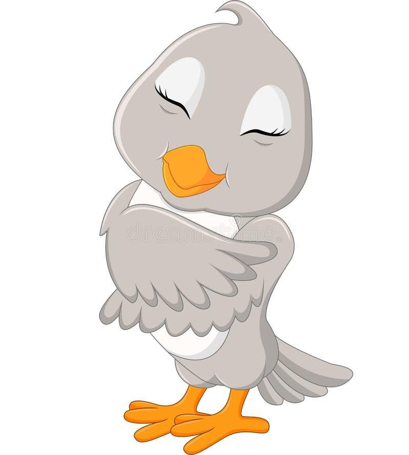 逗人喜爱的灰色鸟动画片 库存例证
