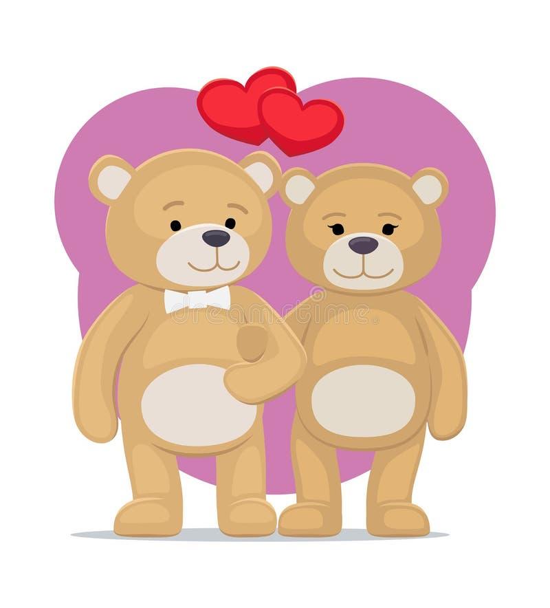 逗人喜爱的熊动物家庭男性和女性举行爪子 库存例证