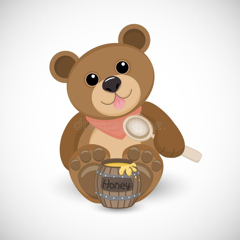 逗人喜爱的熊坐与桶蜂蜜和匙子 免版税库存图片