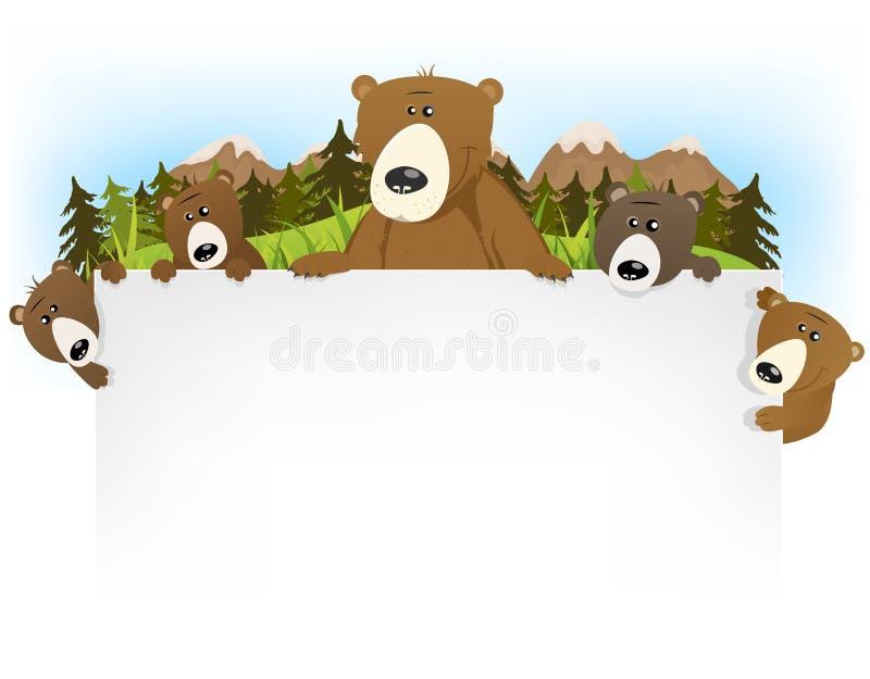 逗人喜爱的熊家庭背景 皇族释放例证