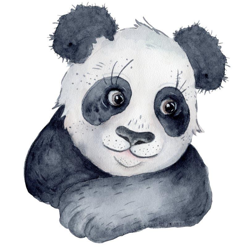 逗人喜爱的熊猫动画片水彩例证动物 图库摄影