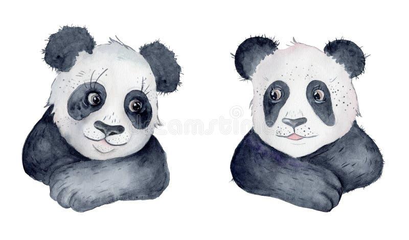 逗人喜爱的熊猫动画片水彩例证动物 库存图片