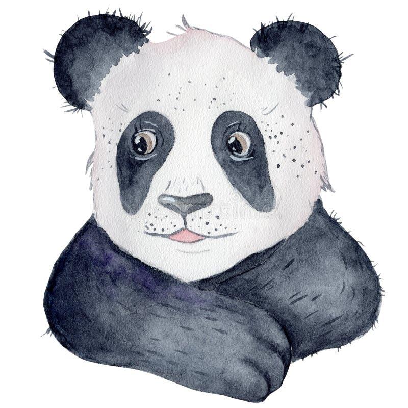 逗人喜爱的熊猫动画片水彩例证动物 免版税图库摄影