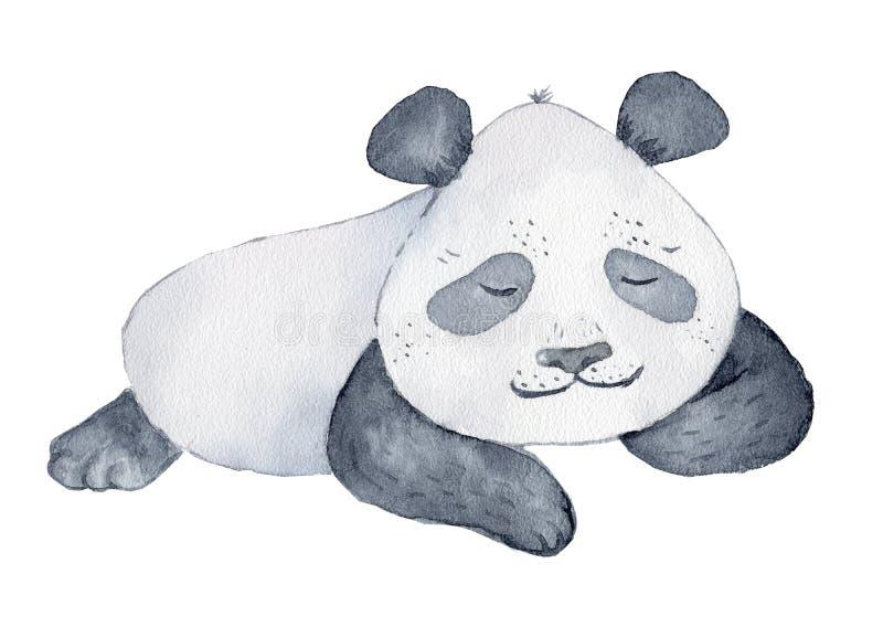 逗人喜爱的熊猫动画片水彩例证动物 免版税库存图片