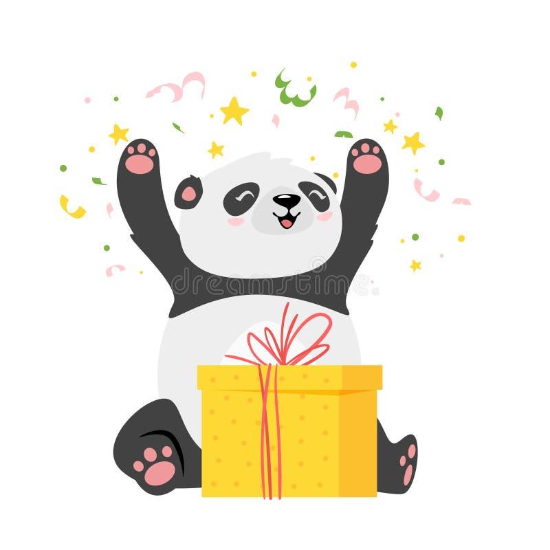 逗人喜爱的熊猫开头生日礼物平的传染媒介例证 库存例证