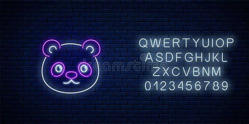 逗人喜爱的熊猫的发光的霓虹灯广告在kawaii样式的与字母表 在霓虹样式的动画片愉快的微笑的熊猫 向量例证
