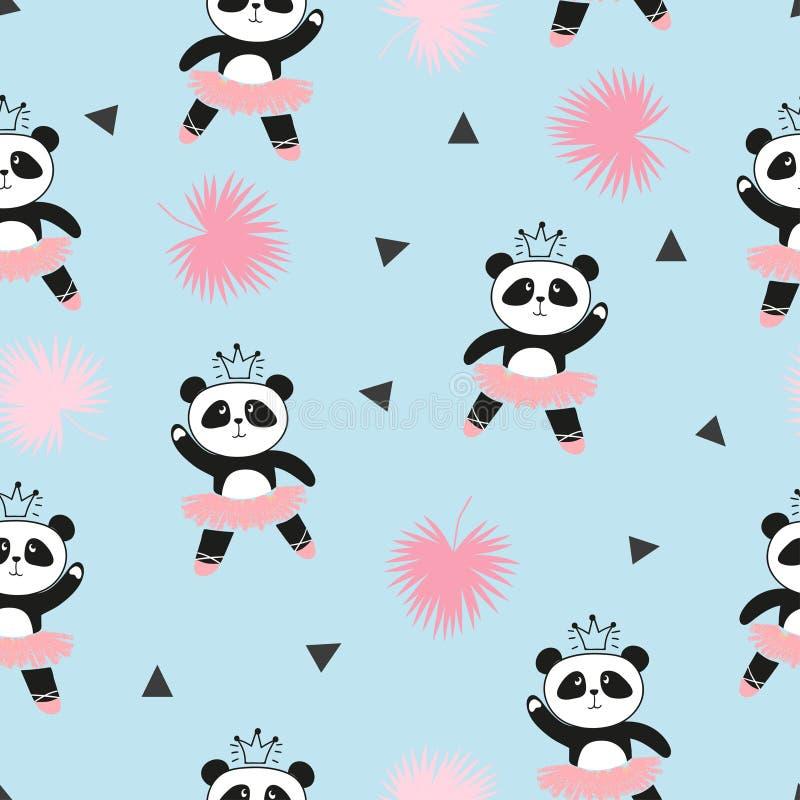 逗人喜爱的熊猫芭蕾舞女演员无缝的样式 向量例证