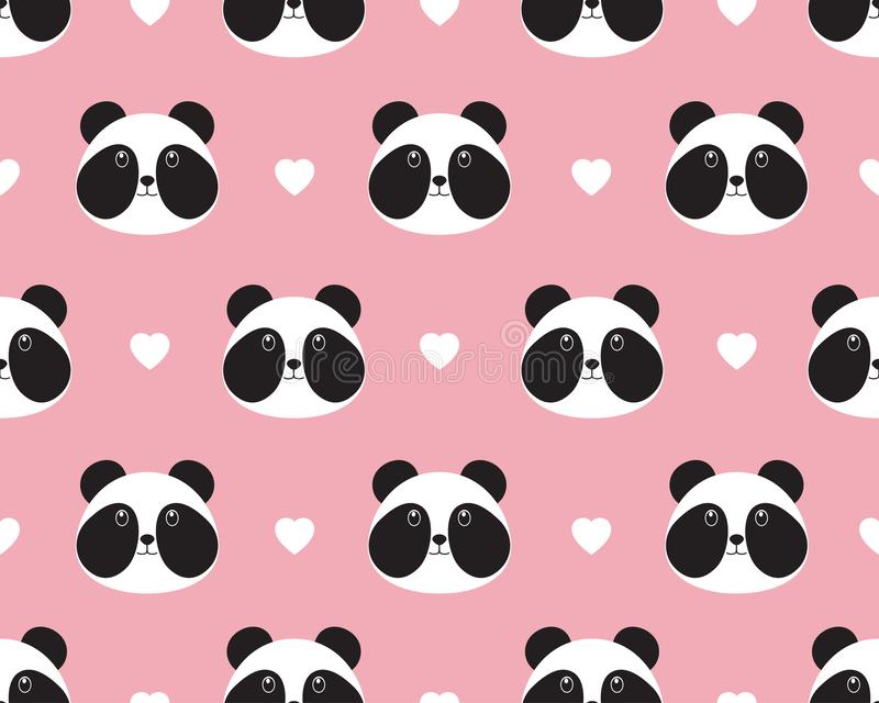 逗人喜爱的熊猫面孔的无缝的样式与心脏的 库存例证