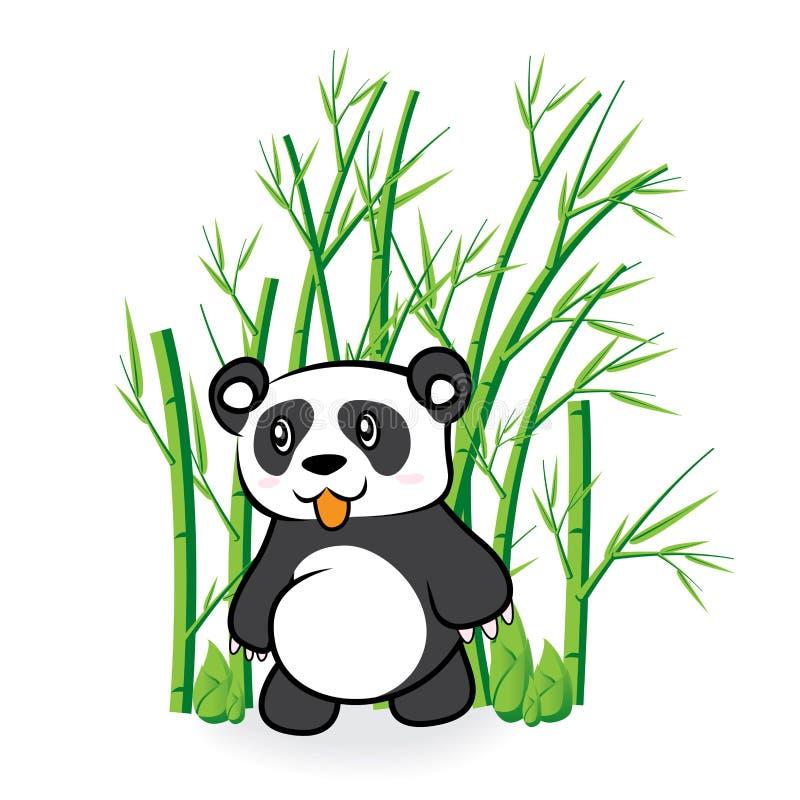 逗人喜爱的熊的例证在竹Forrest 3的 免版税库存照片