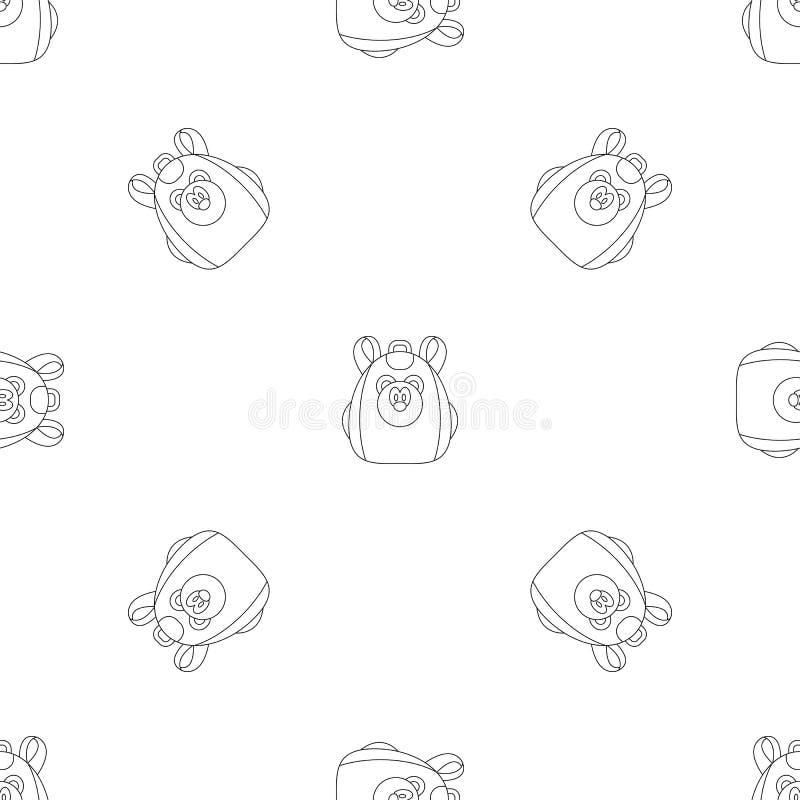 逗人喜爱的熊背包样式无缝的传染媒介 库存例证
