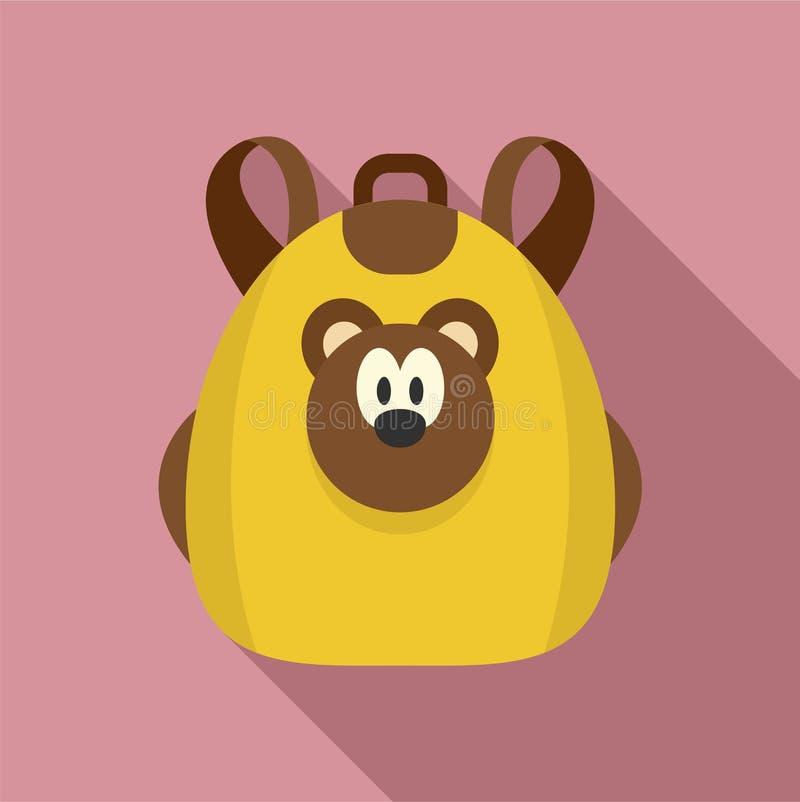 逗人喜爱的熊背包象,平的样式 库存例证