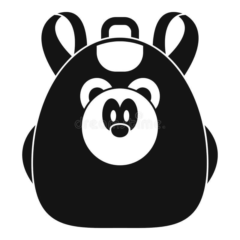 逗人喜爱的熊背包象,简单的样式 库存例证