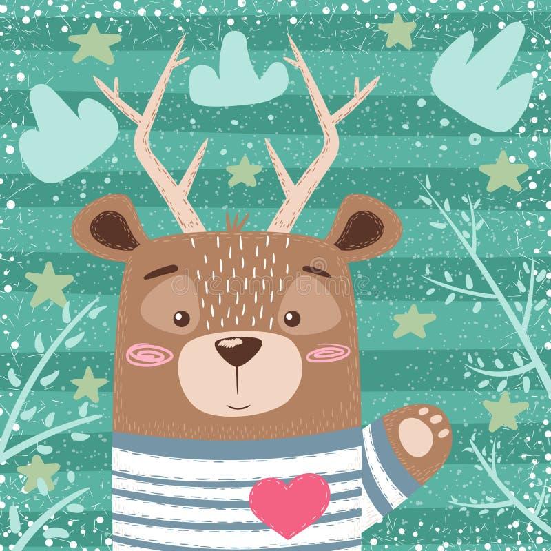 逗人喜爱的熊,鹿动画片例证 库存例证