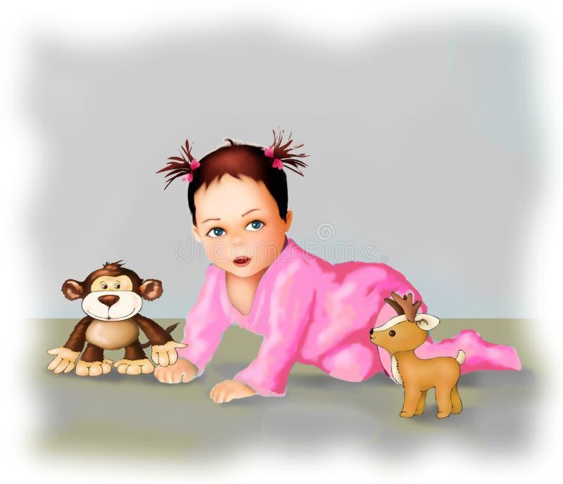 逗人喜爱的爬行的婴孩和玩具可爱宝贝女孩贺卡,明信片小儿童例证,人生, 库存例证
