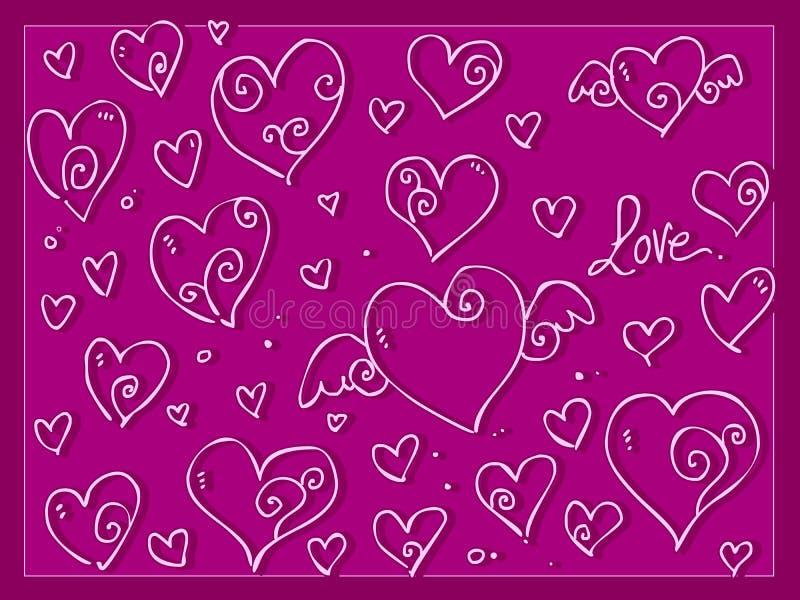 逗人喜爱的爱情人节心脏背景 库存图片