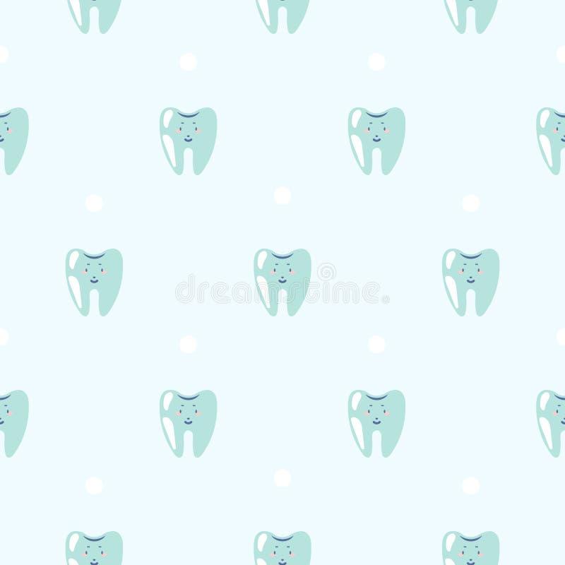 逗人喜爱的牙婴孩牙齿蓝色样式背景 库存例证