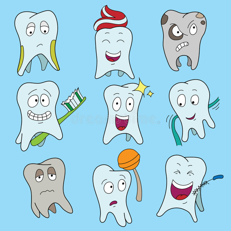 逗人喜爱的牙显示各种各样的情感,愉快的发光的白色牙字符标志,动画片传染媒介例证的套 皇族释放例证