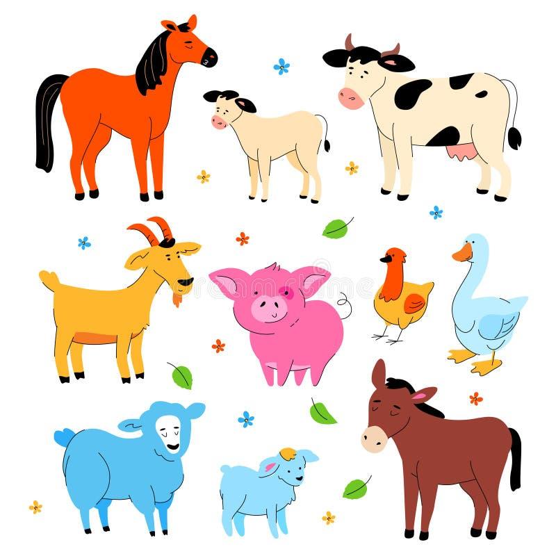 逗人喜爱的牲口-现代平的设计样式套字符 向量例证