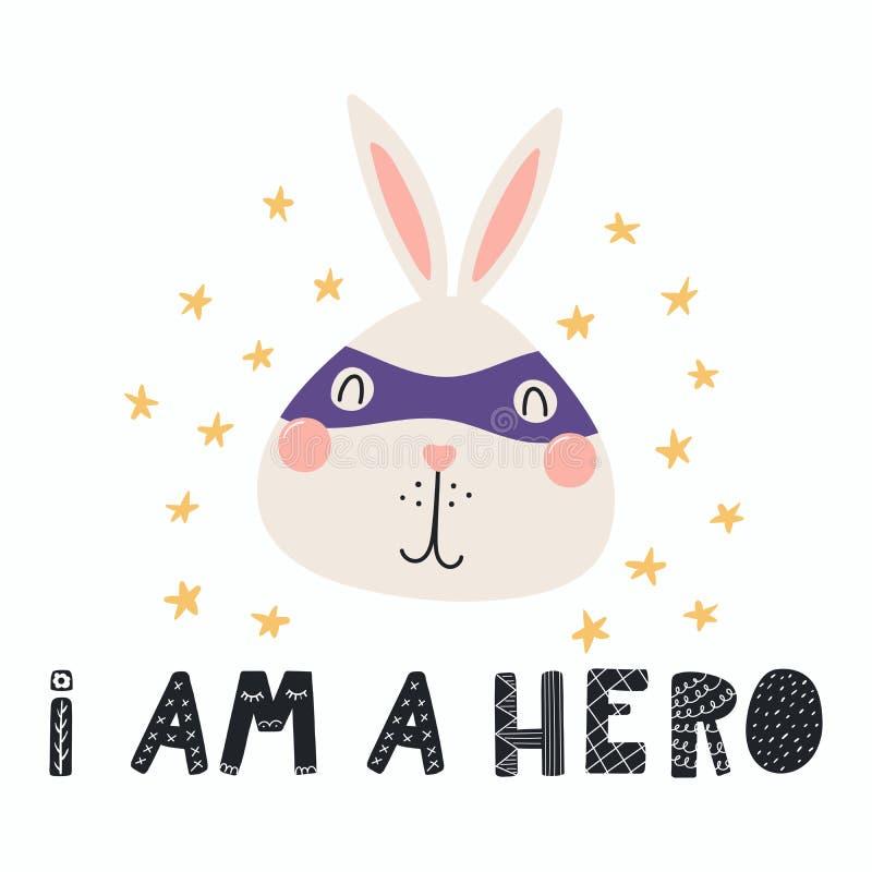 逗人喜爱的特级英雄兔宝宝 向量例证