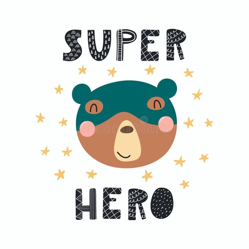 逗人喜爱的特级英雄熊 库存例证