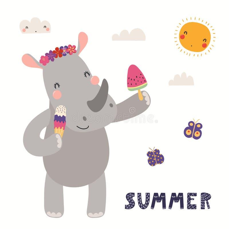 逗人喜爱的犀牛在夏天 向量例证