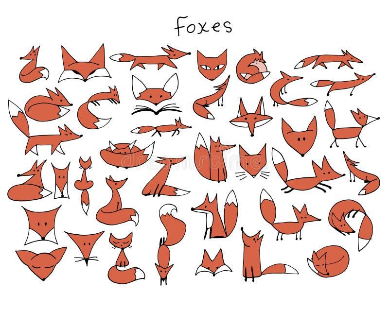 逗人喜爱的狐狸剪影,您的设计的汇集 库存例证