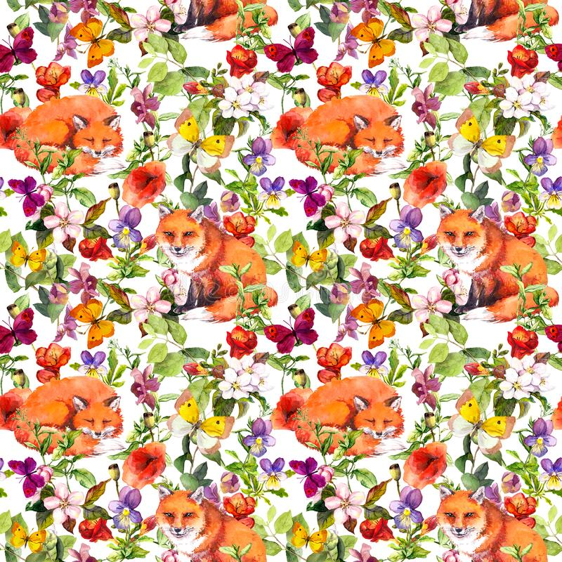 逗人喜爱的狐狸动物、夏天草甸花和蝴蝶 重复花卉样式的Ditsy 水彩 向量例证