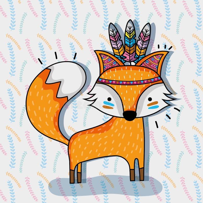 逗人喜爱的狐狸动物部族和羽毛 向量例证