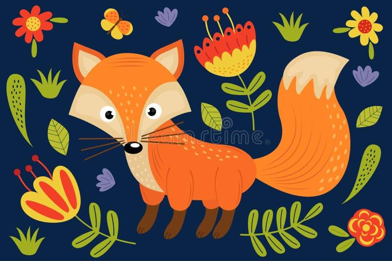逗人喜爱的狐狸和植物 库存例证