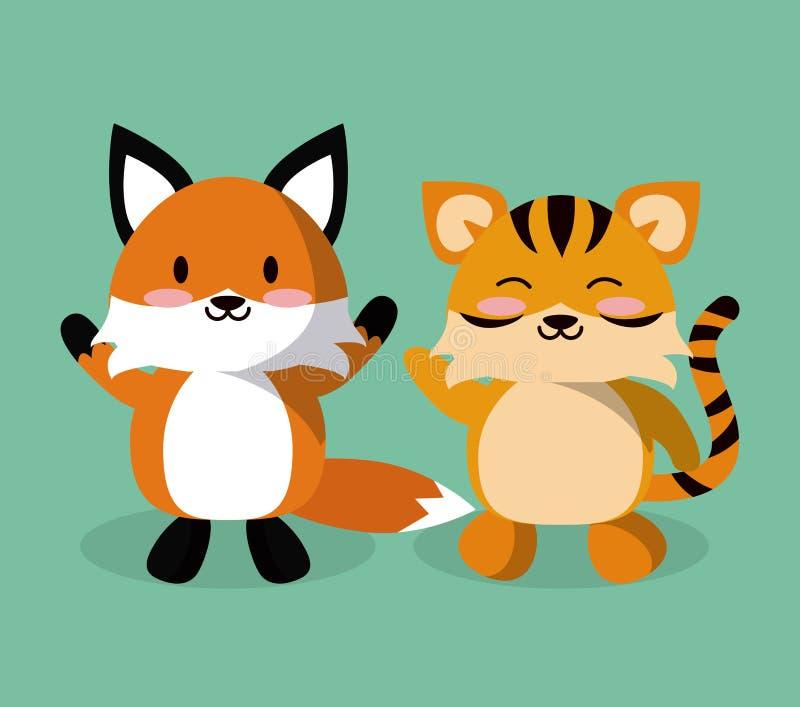 逗人喜爱的狐狸和老虎动画片 库存例证