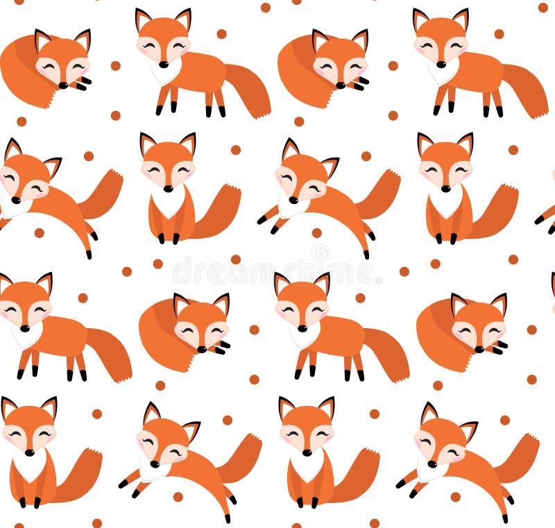 逗人喜爱的狐狸无缝的样式 狡猾的不尽的背景,纹理 皇族释放例证