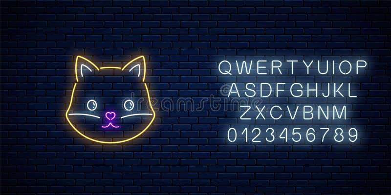 逗人喜爱的狐狸的发光的霓虹灯广告在kawaii样式的与字母表 动画片愉快微笑狡猾在霓虹样式 库存例证
