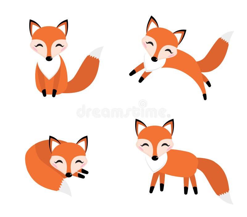 逗人喜爱的狐狸集合平的样式 狡猾用不同的姿势,睡觉,跳跃,坐 库存例证