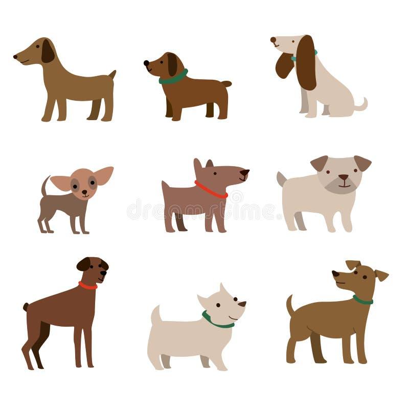 逗人喜爱的狗例证色的传染媒介设计 导航滑稽的在时髦平的样式的动画片不同的品种狗的例证 库存例证
