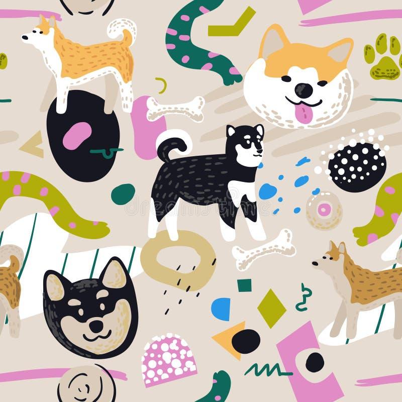 逗人喜爱的狗无缝的样式 与秋田Inu和抽象元素的幼稚背景 织品的婴孩徒手画的乱画 皇族释放例证