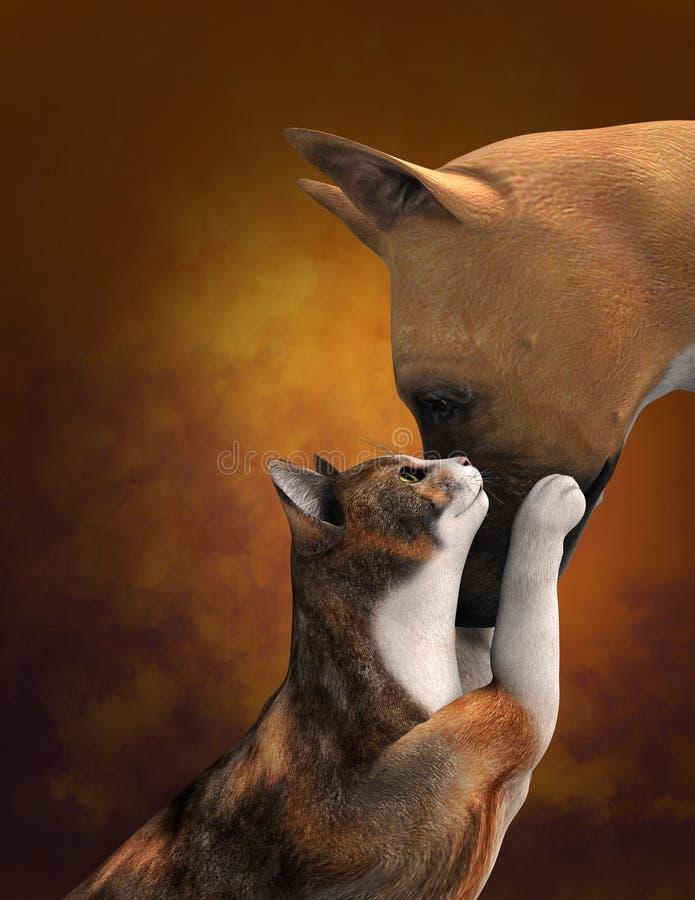 逗人喜爱的狗爱猫例证 库存例证
