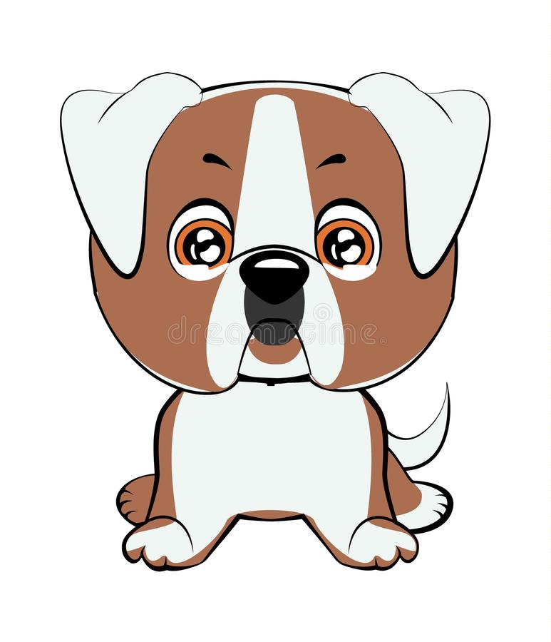 逗人喜爱的狗的传染媒介例证在平的样式的显示哀伤的情感 哭泣的emoji 图标面带笑容 闲谈,通信,印刷品,贴纸 我 库存例证