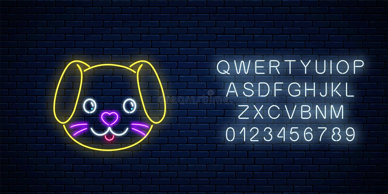 逗人喜爱的狗的发光的霓虹灯广告在kawaii样式的与字母表 在霓虹样式的动画片愉快的微笑的小狗 皇族释放例证