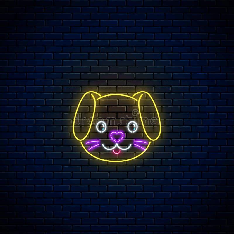 逗人喜爱的狗的发光的霓虹灯广告在kawaii样式的 在霓虹样式的动画片愉快的微笑的小狗 皇族释放例证