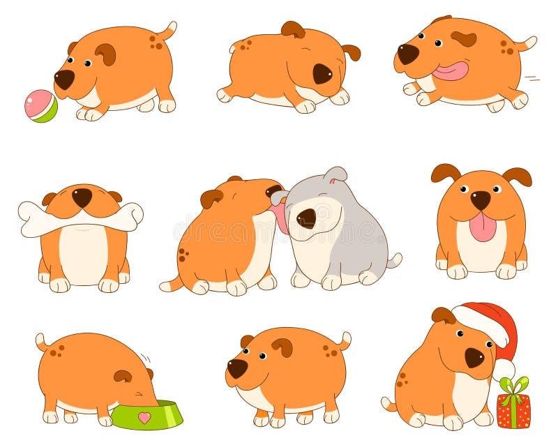 逗人喜爱的狗的汇集 向量例证
