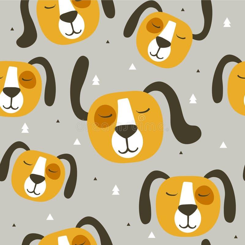 逗人喜爱的狗,五颜六色的无缝的样式 与动物枪口的装饰背景  皇族释放例证
