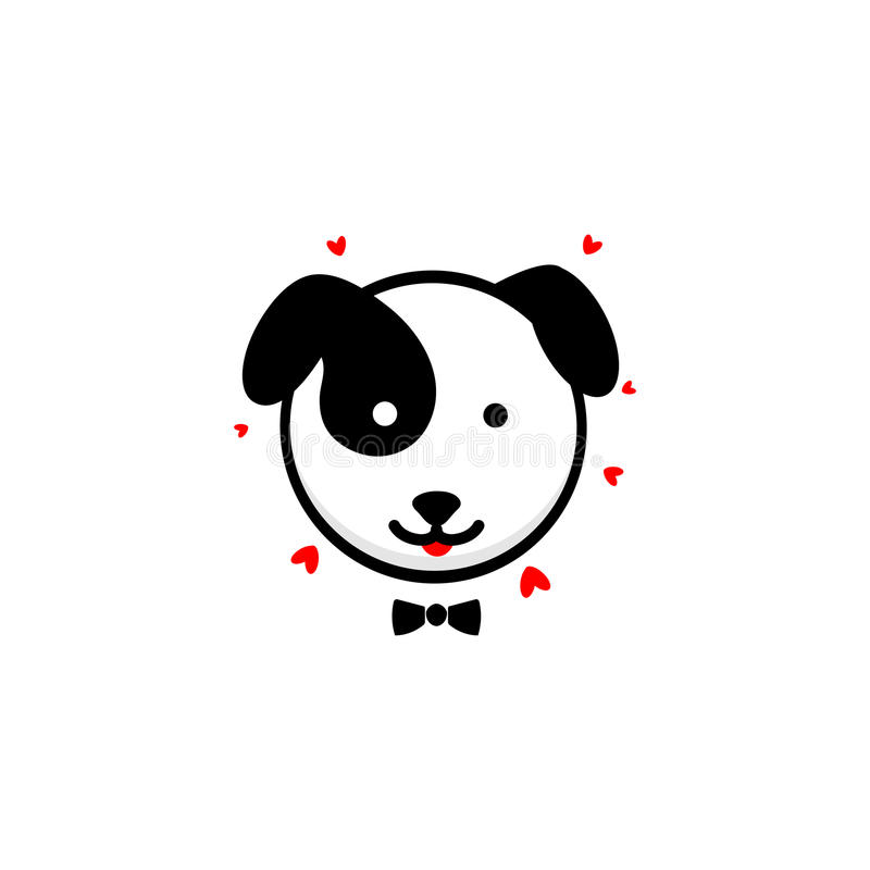 逗人喜爱的狗绅士交代他的爱传染媒介例证,小小狗商标,新的设计艺术,宠爱黑颜色标志,简单 向量例证