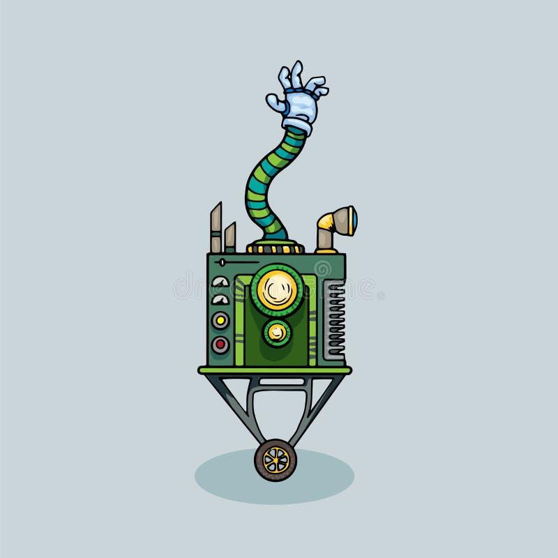 逗人喜爱的独特的机器人字符 库存例证