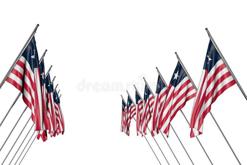 逗人喜爱的独立日旗子3d例证-许多利比里亚旗子在从被隔绝的左右边的壁角杆垂悬  库存例证