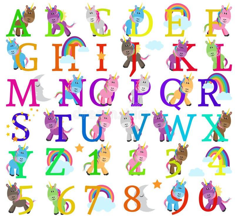 逗人喜爱的独角兽主题的字母表信件的传染媒介汇集 库存例证