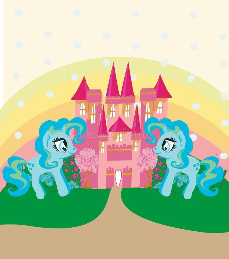 逗人喜爱的独角兽彩虹和童话公主城堡 库存例证