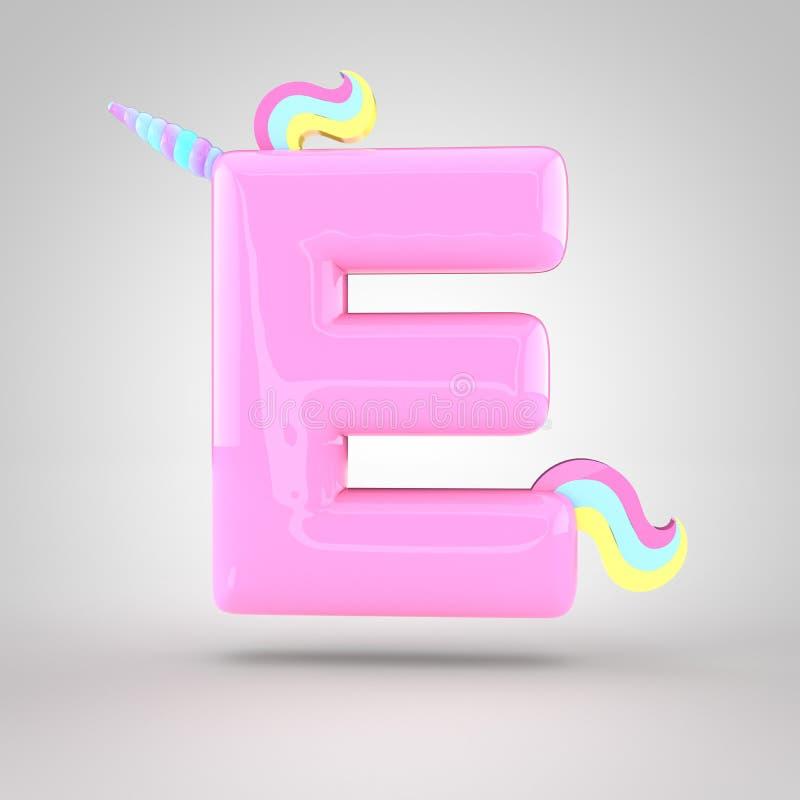 逗人喜爱的独角兽桃红色信件E大写 向量例证
