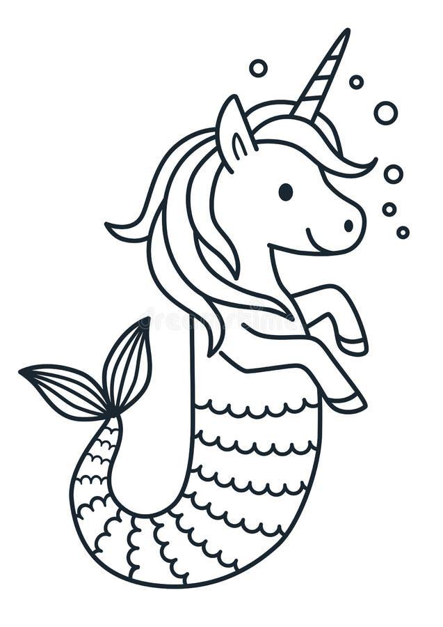逗人喜爱的独角兽美人鱼着色页动画片例证 向量例证