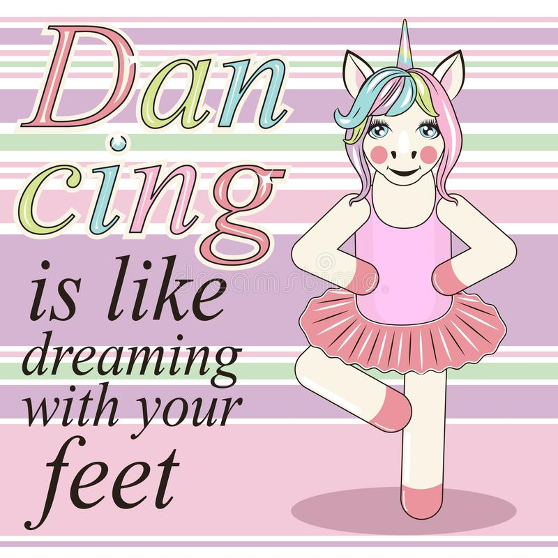 逗人喜爱的独角兽芭蕾舞女演员 能为婴孩T恤杉印刷品,时尚印刷品设计使用 向量例证