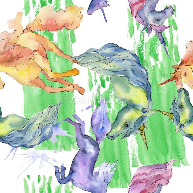 逗人喜爱的独角兽马动物垫铁字符 水彩背景例证集合 无缝的背景模式 皇族释放例证